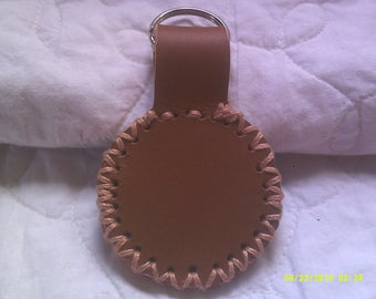 Leather key fob, handmade, brown, one of a kind