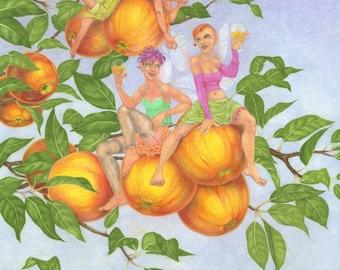 Cider Apple Fairies - art print by Nancy Farmer