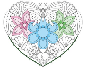 Butterfly Nectar Coloring Page - Instant Digital Download