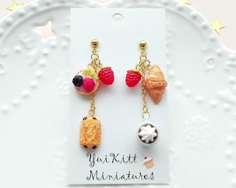Sweets and Moccaccino Earrings/ French Cafe/ Berry Tart Earrings/ Croissant Earrings/ Berry Earrings/ Fake Food Earrings