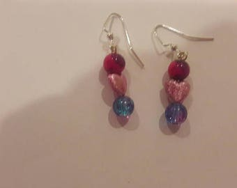 Pink heart with purple pink and blue bead