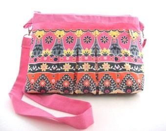 pink canvas bag pleated fabric - girly crossbody bag - romantic canvas handbag