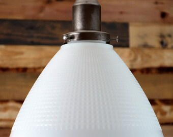 Large Vintage Milk Glass Shade Pendant Light