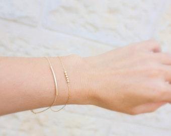 Simple gold bracelets - Set of 2 gold bracelets, minimalist bracelets,14k gold filled  tiny beads bracelet and gold curved Bar bracelet