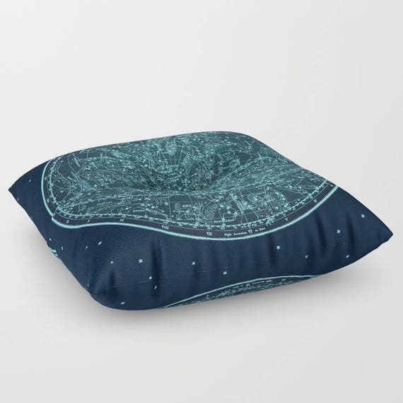 """Zodiac Star Map FLOOR Pillow, Square 26"""" and 30"""", Floor Cushion, Dorm, Teen Decor, Office,Home Statement Piece,Antique,Astrological, Ancient"""