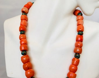 Vtg authentic natural coral and Tibetan bead necklace
