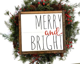 Merry And Bright Handcrafted Wooden Christmas Sign // Rustic Christmas Sign // Farmhouse Christmas Sign // Hand Painted Wood Sign