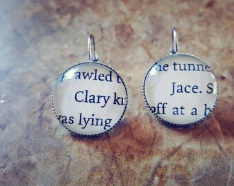 Mortal Instruments Clary and Jace book page earrings
