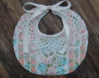 Pink and Blue Floral Baby Bib with Vintage Fabrics