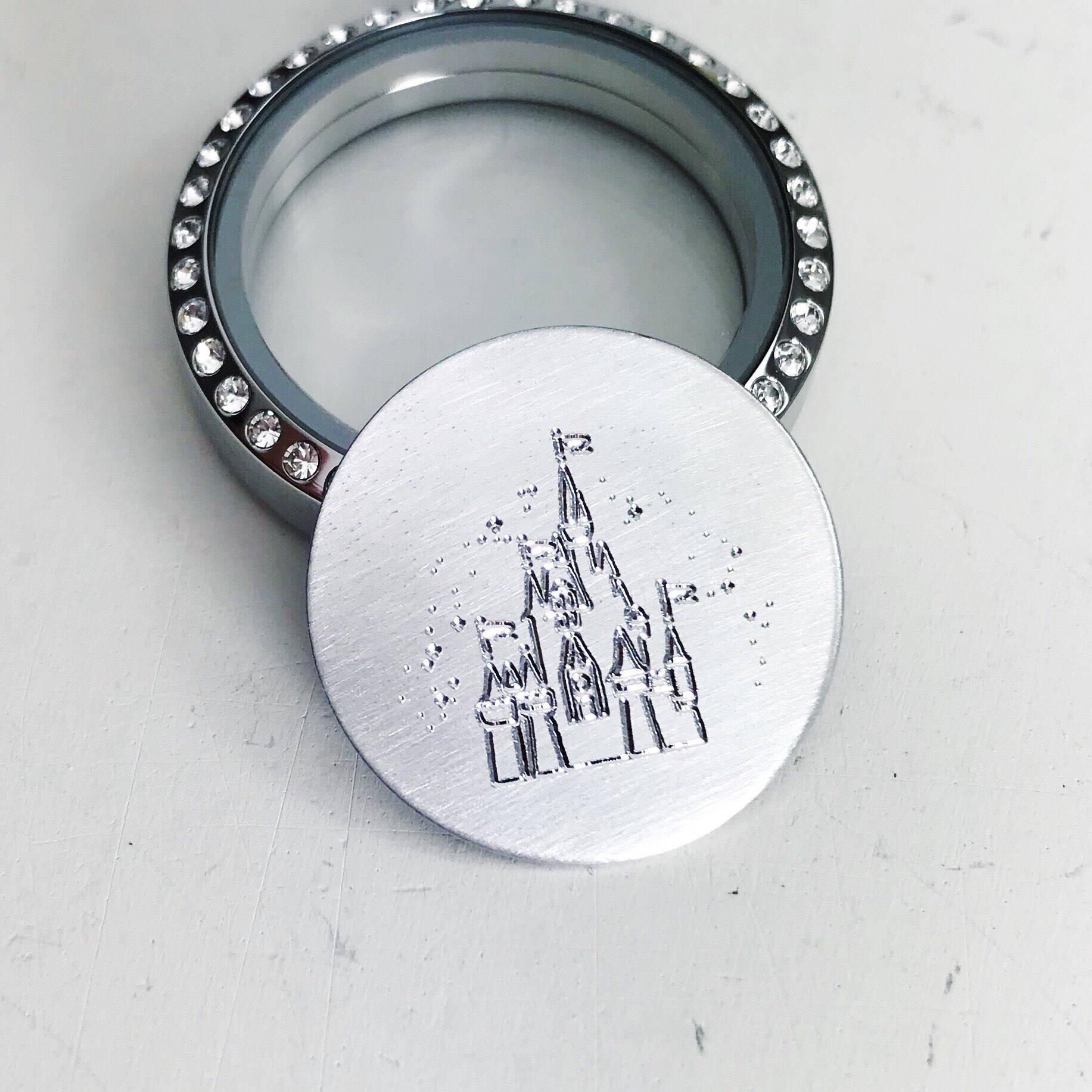Castle locket plate for large origami owl floating locket zoom jeuxipadfo Images
