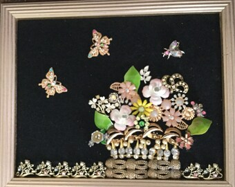 Vintage Jeweled Floral basket with butterflies framed picture