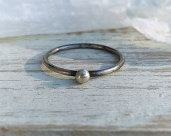 Oxidized Silver Dot Ring, 3mm Ball Ring, Stacking Rings, Silver Band, Sterling Silver Ring, Silver Stacking Ring, Stackable Ring, Skinny