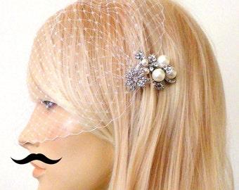 birdcage veil and a small bridal comb  -  Wedding comb,bridal headpieces , rhinestone bridal Hair comb
