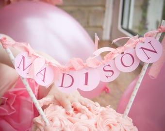 Personalised Pink Circular Cake Bunting Topper