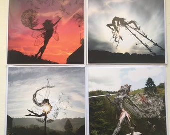 4 pack of Fairy greetings cards by FantasyWire, including 'Luna', 'Broken Wings', 'YinYang' and 'Whimsy's Pride'