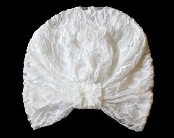 White Lace Turban - Bohemian Fashion Hair Covering
