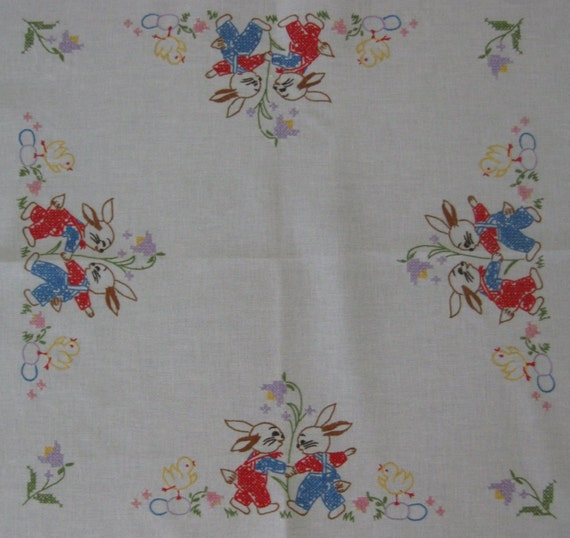 Vintage 1950s German Hand Embroidered Easter Table Topper