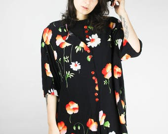 Vintage Blouse Flowers Floral Black Colorful Shirt XXL Cute OversizedGrunge Alternative Mod Hippie Boho Festival Chic 80s