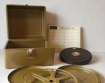 Vintage Movie Reel Set, Kenco Reel & Canister Set, 8mm Film Reel Set, Movie Reels and Cans, Movie Room Decor, Cinema Decor, Harwood Reels