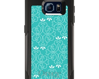 OtterBox Commuter for Galaxy S4 S5 S6 S7 S8 S8+ S9 S9+ / Note 4 5 8 - CUSTOM Monogram - Any Colors - Teal White Floral