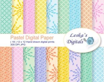 Pastel digital paper pack of scrapbook background printable paper, fun pastel wallpaper pattern design instant download