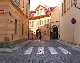 Prague Photography - Orange Alley - Wall Decor - Art Print