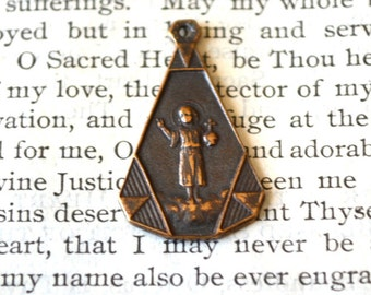 Christ Child and Guardian Angel Medal - Bronze or Sterling Silver - Vintage Medal Replica - Made in the USA (M106-593)