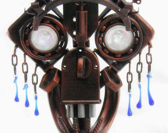 """Metal sculpture candle holder """"Scull"""""""
