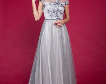 Grey Floor Length Floral Embroidery Bodice Evening Gown, Cap Sleeve Floor Length Tulle Grey Prom Dress with Rhinestone Embellishment C11A