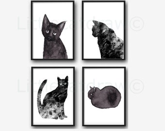 Black Cat Print Set Of 4 Wall Art Prints Cat Lover Gift Black Cat Decor Cat Prints Watercolor Painting Print Wall Decor Home Decor Unframed