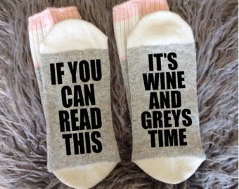Grey's Anatomy Socks - Beautiful Day to Save Lives - You're My Person - Wine and Greys - Dark and Twisty - Grey's Wine Socks - Novelty Socks