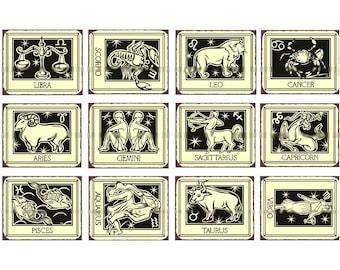 Astrology Horoscope - Digital Collage Sheet - Instant Download