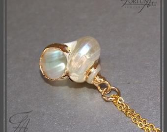 Spiral Shell Charm Necklace, Sea Shell Pendant Necklace, Gold Necklace, Gold Necklace, Handmade Necklace, Sea Jewelry, Minimalist Jewelry