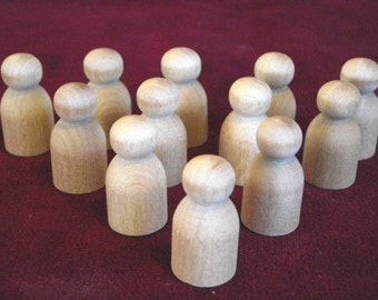 12  No. 7 Little Tots Peg Dolls, Unfinished Hardwood