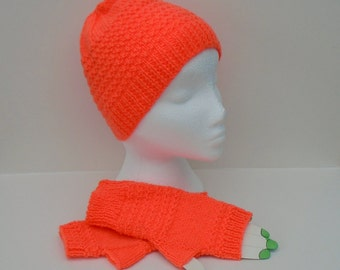 Beanie Hat and Mitts, Hand Knit Mittens, Hand Knitted Hat, Dayglow Fashion Set, Hat and Mitten Set, Ladies Wrist Warmers, Fingerless Gloves