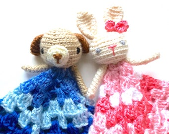 Free Amigurumi Crochet Pattern: Puppy Dog & Bunny Rabbit Lovey (cuddly security blanket and toy doll for newborn baby toddler kids children)