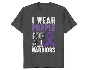 Purple Ribbon Shirt - Survivor Tee Shirt - Warrior T Shirt - Abuse Survivor Shirt - I Wear Purple For All Warriors