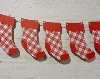 Christmas Stocking Bunting, Christmas stocking garland, Green and Red Christmas Decor, Plaid Stocking Banner, Merry Christmas Banner