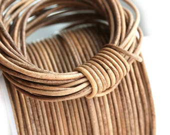 1.5mm Round Natural Leather cord - Vintage Taupe Brown - 10 feet, LC078