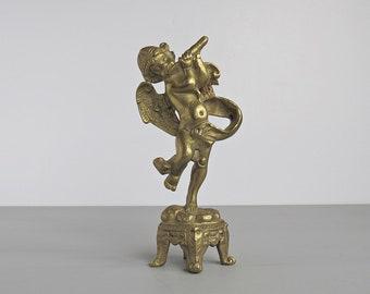 Vintage Brass Flute Playing Cherub on Plinth - Cherub Figurine
