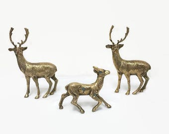 Vintage Brass Deer, Set of Three Deer Figurines, Two Bucks and a Doe, Christmas Decor