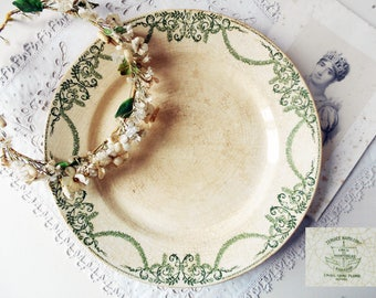 Large Serving Plate French Ironstone White and Green Plate Creil & Montereau 1800s