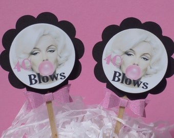 Marilyn Monroe Milestone Birthday Cupcake Toppers