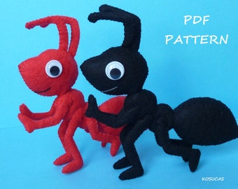PDF pattern to make a felt ant.