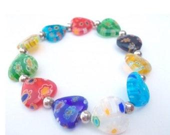 Millefiori Hearts Bracelet.