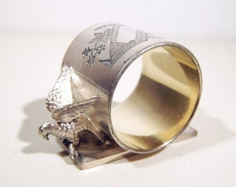 Antique Rogers & Bros. Triple Silverplate Figural EAGLE Napkin Ring