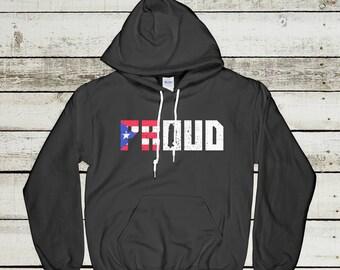 PR Proud Hoodie - Puerto Rico Hoodie, Puerto Rican Hoodie, Puerto Rican Pride, Puerto Rico Sweatshirt, Puerto Rico Map