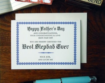 letterpress happy father's day best stepdad ever certificate greeting card blue & black ink