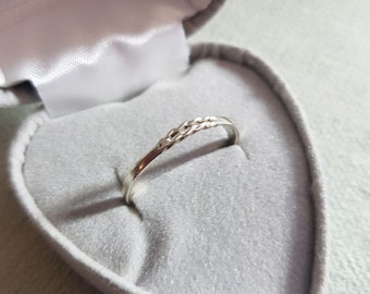 Handmade Narrow Sterling Silver Double Twist Design Stacking Ring