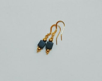 Onyx and Gold Hook Earrings
